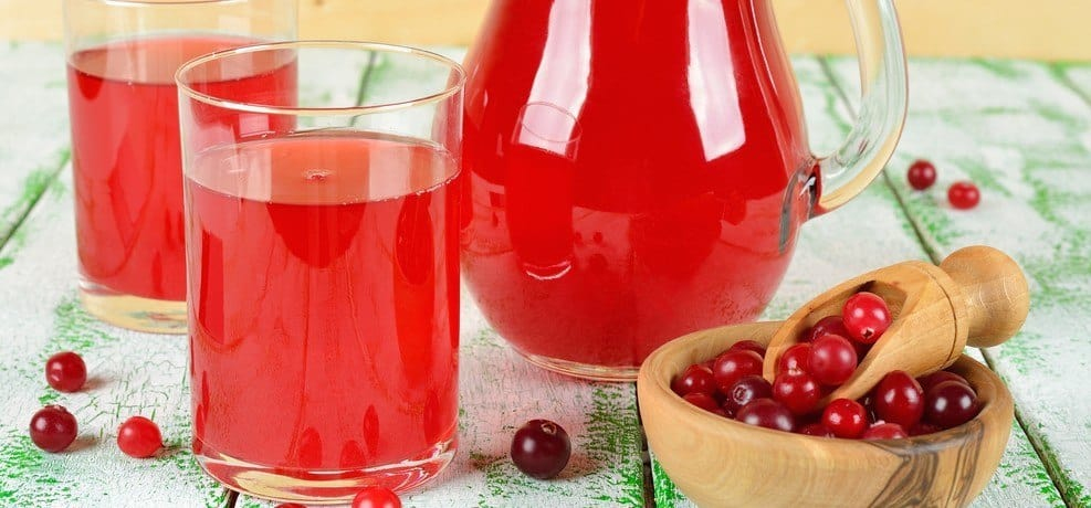 A large container and two glasses of cranberr yjuice with a small batch of cranberries next to them.