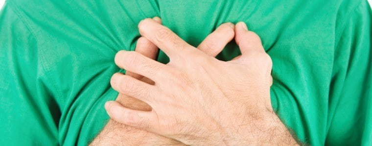 A person holding their hands to their chest as if in pain or discomfort.