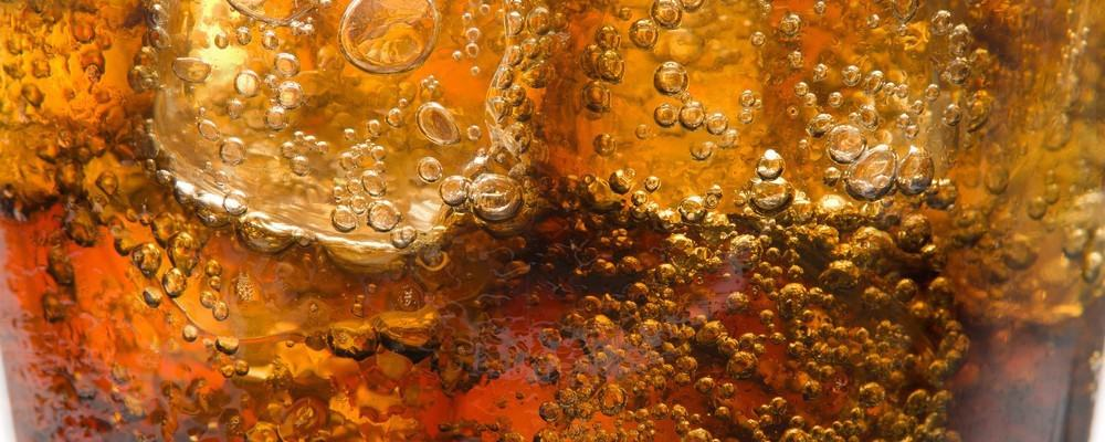 Close-up of coke in a glass.