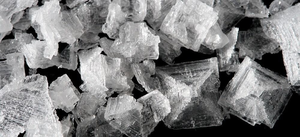 Black and white image of salt crystals.