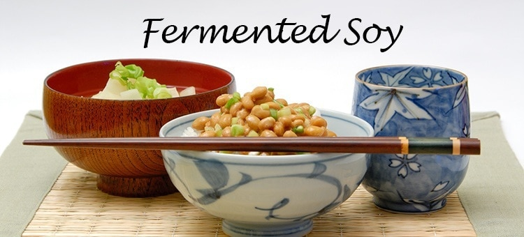 Various cups of fermented soy products.