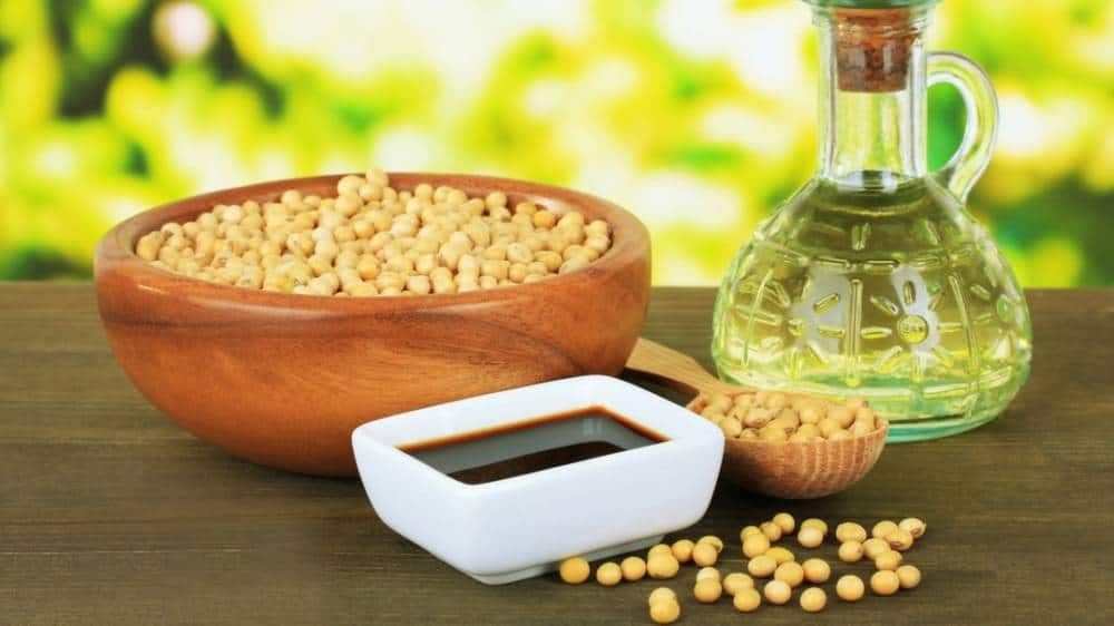 Soy products like soy sauce and soy beans.