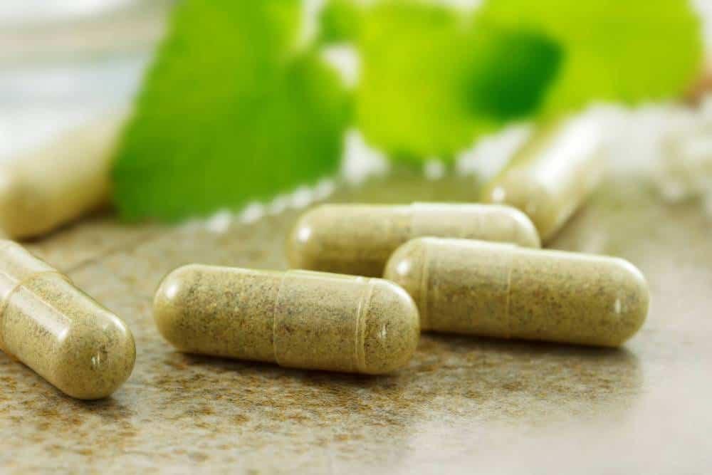 Vitamin capsules.