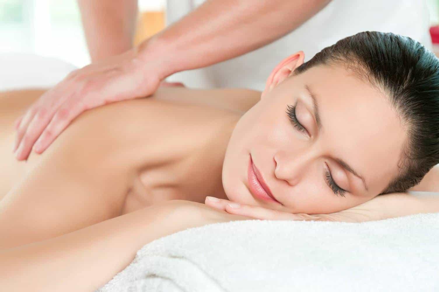 a woman being massaged.