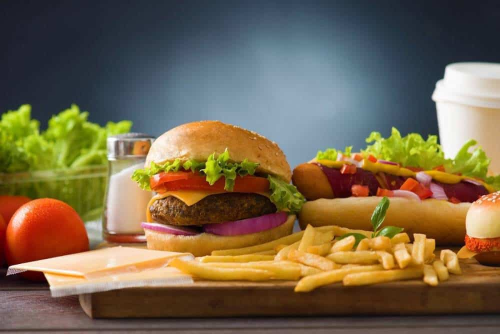 A burger and fries menu.