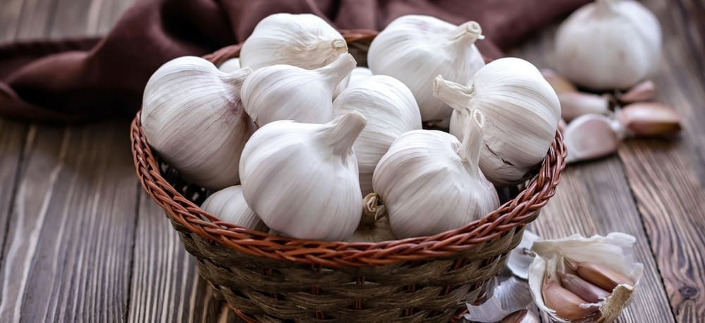A basket of garlic.