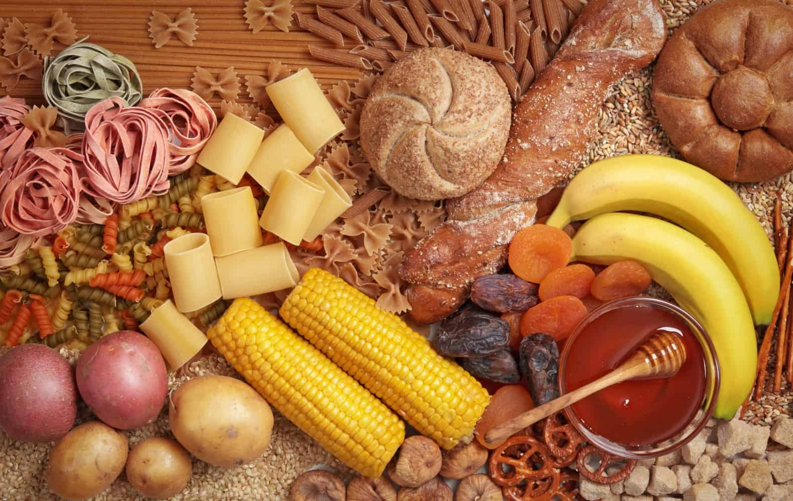 Various carb-heavy foods.